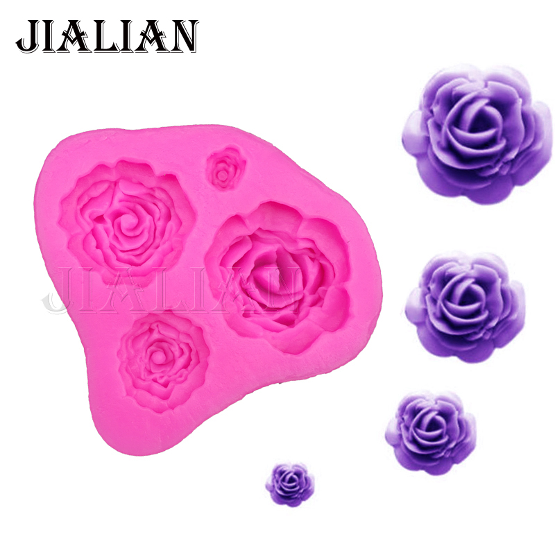 3D roses Flowers chocolate wedding cake decorating tools DIY baking fondant silicone mold kitchen Baking accessories T0116