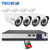 Techege 4CH CCTV System 4K POE NVR 2592 1520 4MP POE IP Camera Outdoor Security Camera