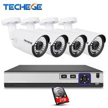 Techege 4CH CCTV System 4K POE NVR 2592*1520 4MP POE IP Camera Outdoor Security Camera Night Vision Waterproof Surveillance Kit