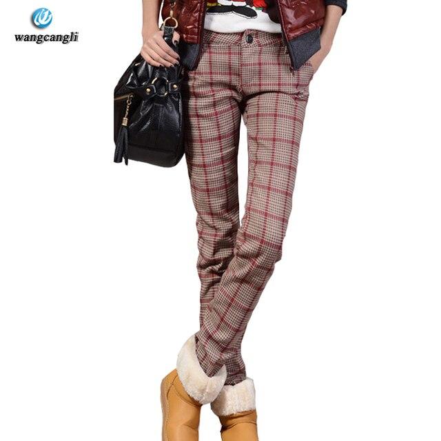2017 зимние штаны женские Большие размеры Для женщин khakai мода толстые теплые Повседневное карандаш Брюки для девочек кашемир Повседневная плед Женщины Штаны