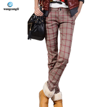 Фотография 2016 4XL 3XL pants winter Plus size Women Fashion thick warm Casual Pencil Big Large size cashmere casual plaid pants women