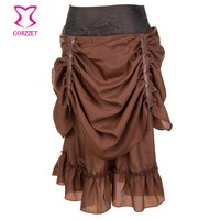 Spring Punk Brown Ruffles Silk Gothic Midi Chiffon Double Pleated Skirt Vintage Bandage Women Skirts 2019 Steampunk Streetwear