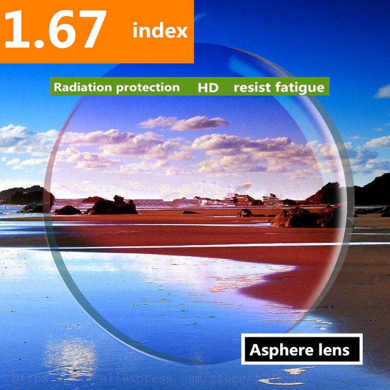 Lentilles de Prescription d'index 1.67 lentilles de verres asphériques de résine de revêtement vert pour la myopie hyperopie lentille de lunettes de presbytie 2 pc