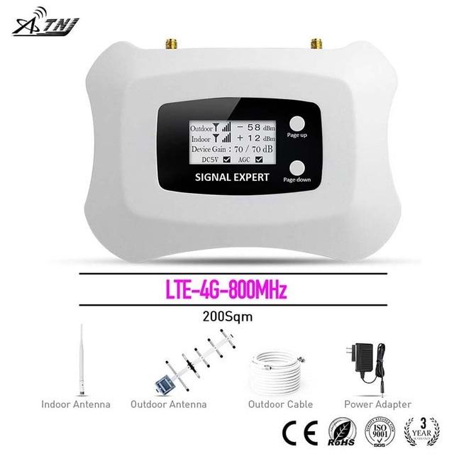 Inteligente! Lte impulsionador de sinal móvel 4g 800mhz/amplificador/repetidor! tela lcd + o sistema de velocidade mais inteligente yagi + antena de caneta
