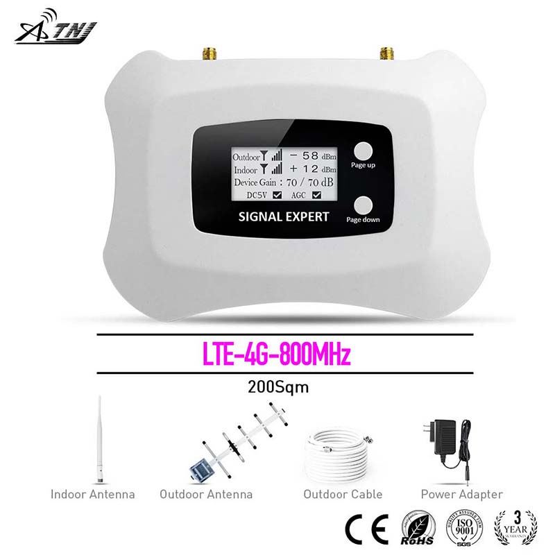 Smart! LTE 4G 800mhz Mobile Signal Booster/Amplifier/ Repeater!LCD Display+The Most Intelligent Speed System Yagi + Pen Antenna