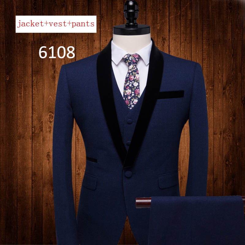 Men Suits Three Sets Casual Blue Gentleman Banquet Bridegroom Dress Single Breasted Formal high quality plus size MLXL2XL3XL-5XL