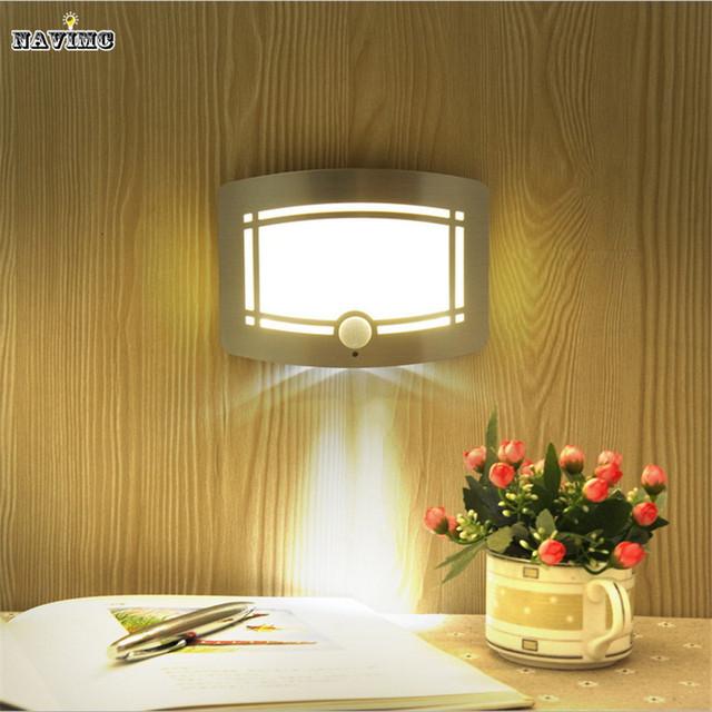 2016 Inalámbrico de Movimiento Infrarrojos Del Sensor de Pared LED Luz de La Noche de La Novedad de La Batería Alimentado Porche Lámpara de Noche de Luz Del Sensor de Movimiento Para El Hogar