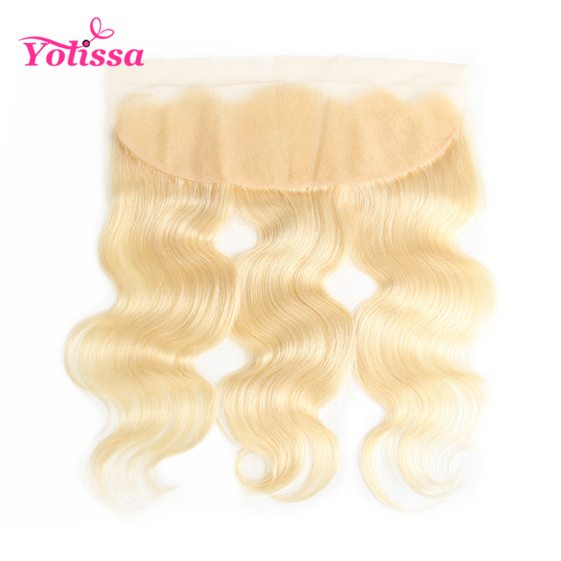 Yolissa Hair Blonde 613 Lace Frontal Closure 13x4 Pre Plucked Body Wave 100% Human Hair 10-20 Inch Remy Hair image
