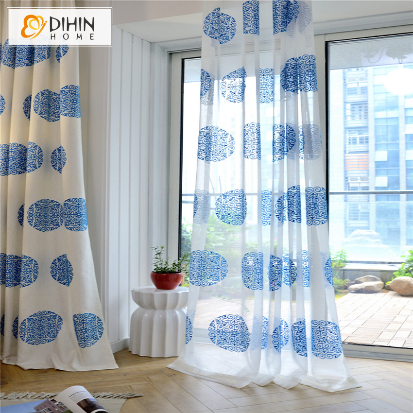 Dihin 1pc 3 Colors Friendly Material Garden Floral Curtains For Living Room Bedroom Window Treatment