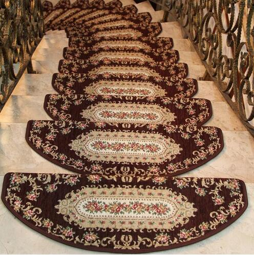 8pcs European Stair setpping Carpet Sets non-slip Stair trend Mats Step Rug for Stair 25*75cm fit for 25cm width Stair pad mat