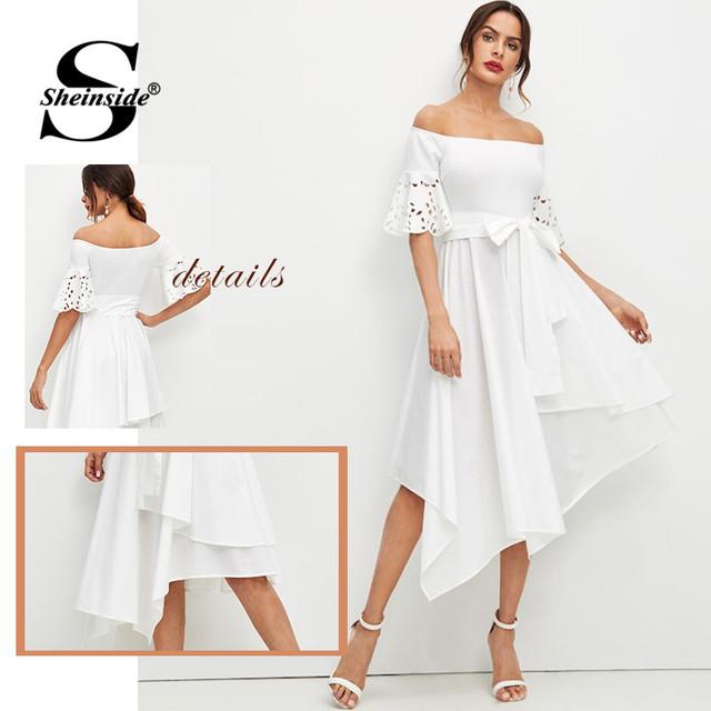 White Elegant Off the Shoulder Party Dress
