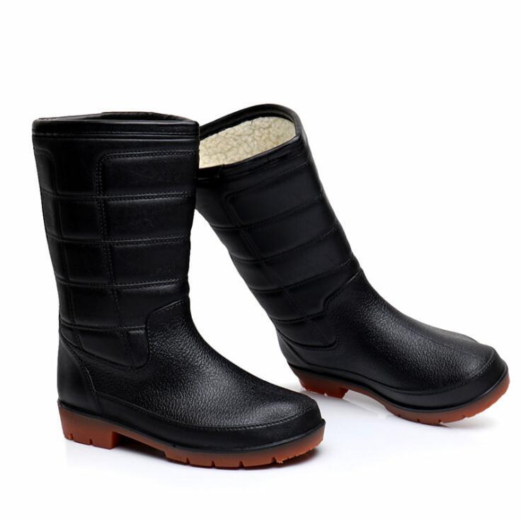 Back To Search Resultshome Rouroliu Men Waterproof Pvc Rain Boots Non-slip Working Shoes Man Safety Autumn Winter Mid-calf Rainboots Footwear Rt364