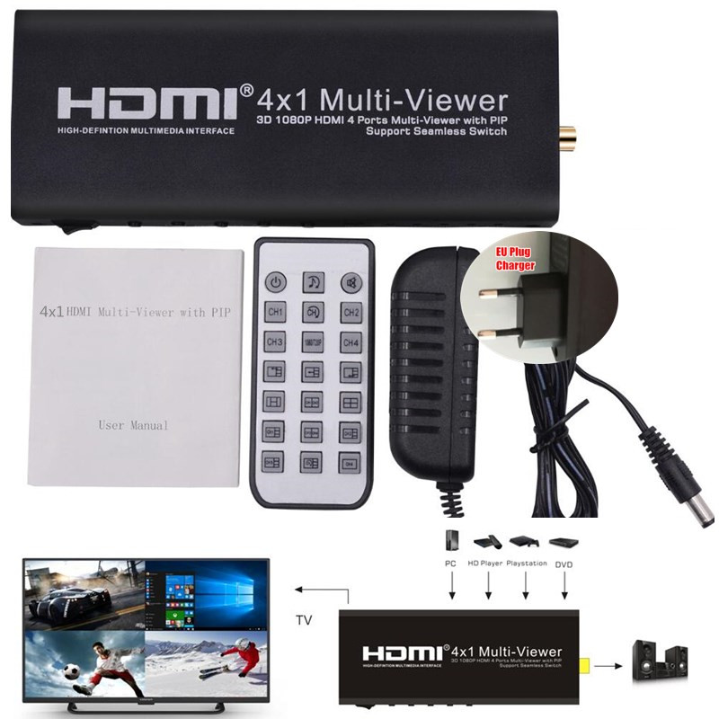 HD Video Splitter Extender,3D 1080P HDMI 4x1 Quad Multi-Viewer with PIP,4 Screen Segmentation&Seamless Converter,IR Remote,HDCP doitop 4x1 hdmi multi viewer hdmi quad screen real time multi viewer hdmi splitter seamless switcher 1080p 60hz 3d ir control