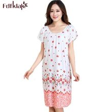 Womens nightgowns new cotton silk nightwear summer dress casual loose nightdress female night shirt women sleepwear sleepshirt