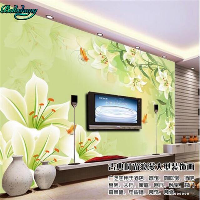 beibehang Elegant green lilies fashion background wall custom mural ...