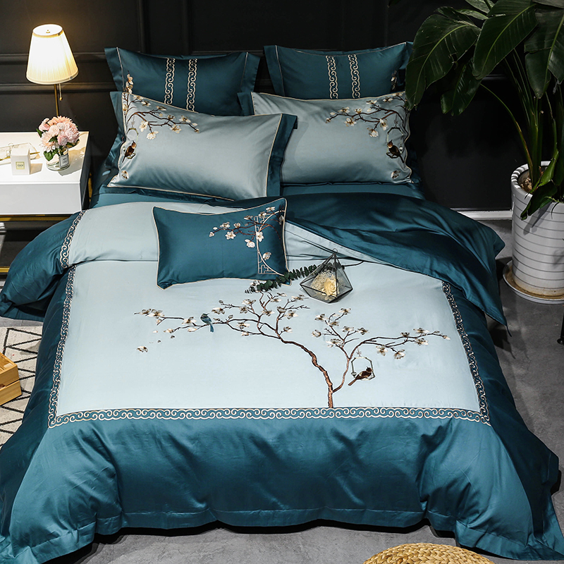 Embroidery Floral Birds Duvet Cover White Luxury 600TC Egyptian Cotton Ultra Soft Bedding Set Bed Sheet King Size Queen 4/7Pcs