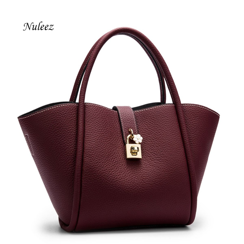 Nuleez 2018 new women totes women bag Fashionable and comfortable with flower lock genuine head leather handbag promotion promotion women