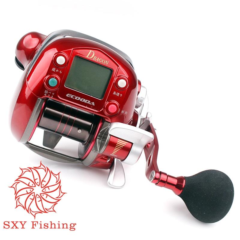 Envío Gratis rueda de conteo eléctrico carrete de pesca 7000 Series 7 eje fuerza de pesca 30 kg rueda de pesca eléctrica Digital