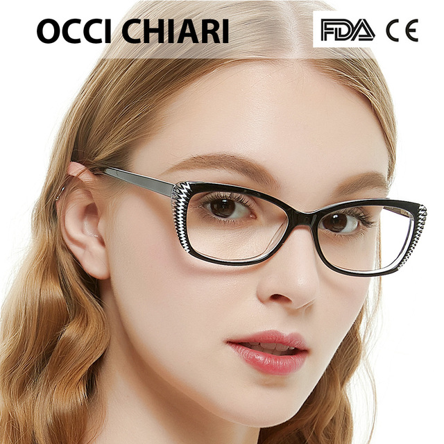 b35fb8fc61 2018 Fashion Prescription Eyeglasses cat eye Vintage Women Optical Acetate  Spectacles Eyewear Frame Spring Hinge Red OCCI W-ZEI