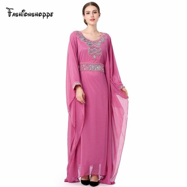 Femmes Broderie à manches longues musulman robe arabe turc robe Dubaï  marocain Caftan Abaya Islamique vêtements 5227ce6eb43