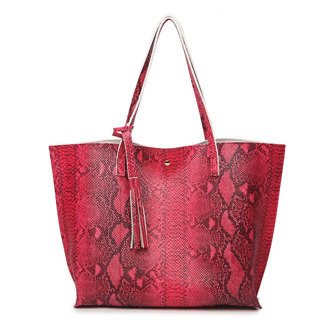 Fashion serpentine women leather handbags Luxury designer female tote bags snake bolsas mjure tassel ladies large shoulder bags