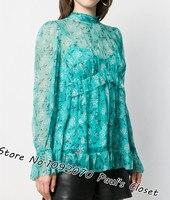 Women Gathered Frill Top In Turquoise Mini Bloom High Neckline Ruffled Hem Silk Blouse