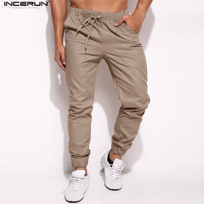 Mens Pants Trousers Bottoms Hiphop Big-Size High-Quality Elastic-Cuff Hombre