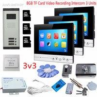 For 3 Villas Video Door Phone Intercom 8GB TF Card Video Recording 7 Indoor Monitors 3