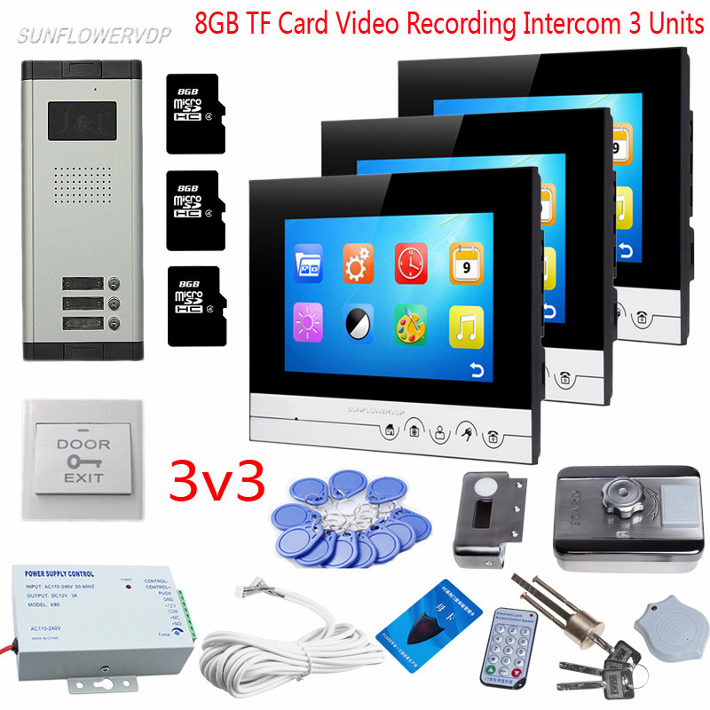 For 3 Villas Video Door Phone Intercom 8GB TF Card Video Recording 7 Indoor Monitors 3 Buttons Camera Video-eye With Rfid Lock 3 monitors 7 video intercom with reording 8gb tf memory cards intercom door rfid camera for 3 apartments electric strike lock