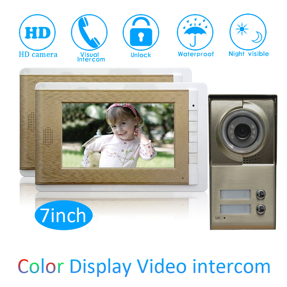 One to Two Video Door Phone System For Security Visitor Calling system 7 inch color Moni ...