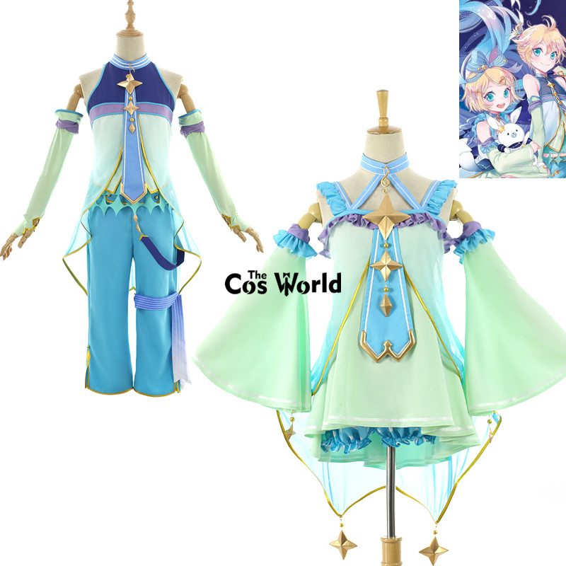 2017 Snow Vocaloid Kagamine Rin Len Tops Pants Uniform Outfit Anime Cosplay Costumes ...