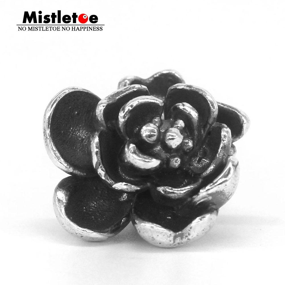 Mistletoe Genuine 925 Sterling Silver Rose Pendant Charm Bead Fits European Troll 3.0mm Bracelet & Necklace Jewelry alloy rose flower pendant necklace