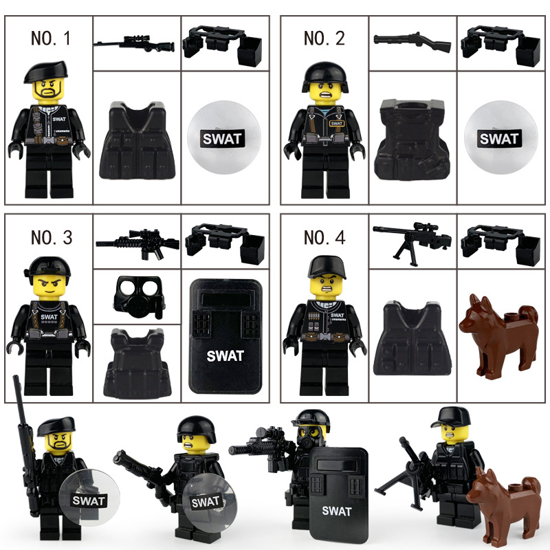1629 Black special Police with weapon mask Shield Brown Dog 4 Doll doll child building block toys