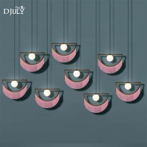 Image 4 - nordic designer tassel glass ball pendant lights for living room bedroom villa hotel home deco suspension luminaire led fixtures