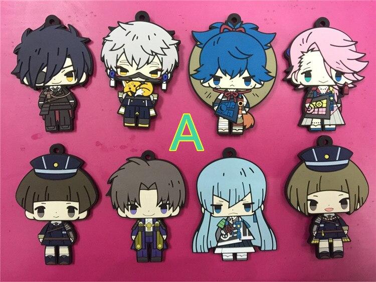 8 pcs/set Anime Touken Ranbu Online figure pendants Game vol 1 2 3 4 5 keychains phone straps free shipping