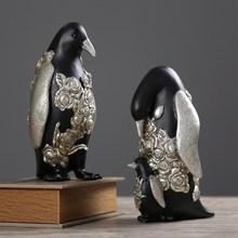 2Pc Creative Penguin Home Decoration Accessories Desktop Nordic Simple  Wine Cabinet Parlor Crafts Gift