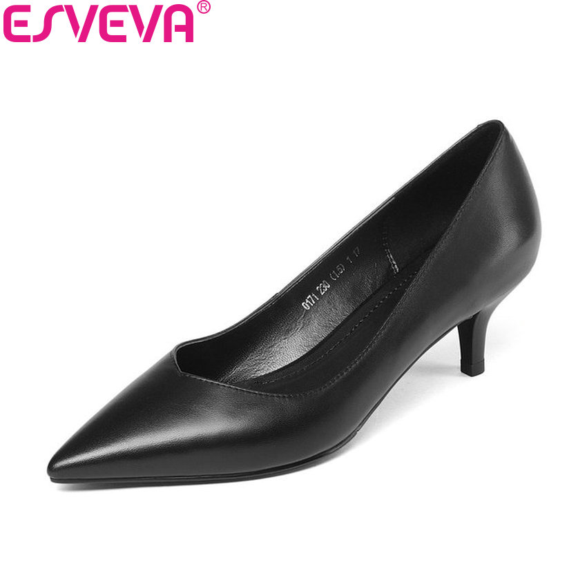 все цены на ESVEVA 2018 Women Pumps Shoes Sexy Cow Leather PU Slip on Thin High Heel Concise Black Pointed Toe Ladies Pumps Shoes Size 34-39 в интернете