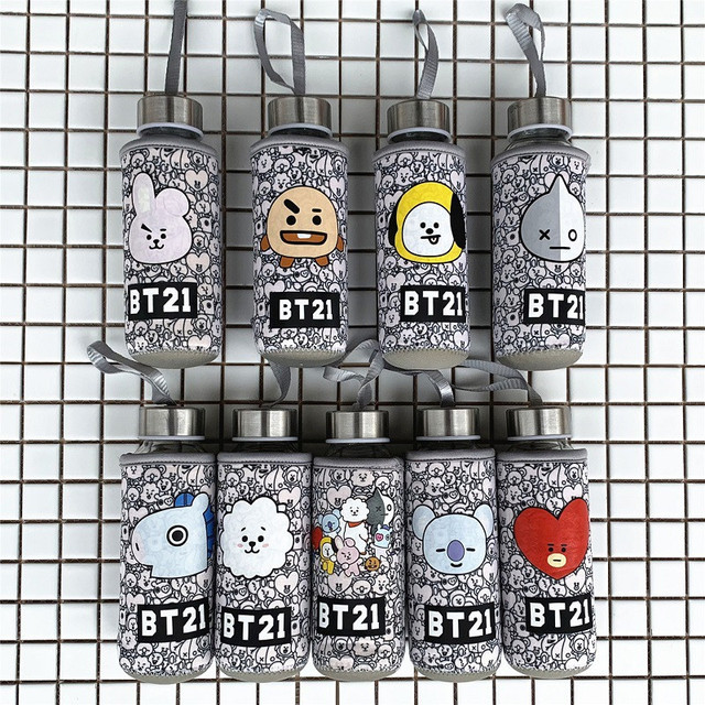 6c554db0d0e NEW Kpop BTS BT21 Bangtan Boys Cartoon Q Styles Glass Bottle Cute Cooky  Chimmy RJ Tata Fashion Cup Cover 300ML Per Set
