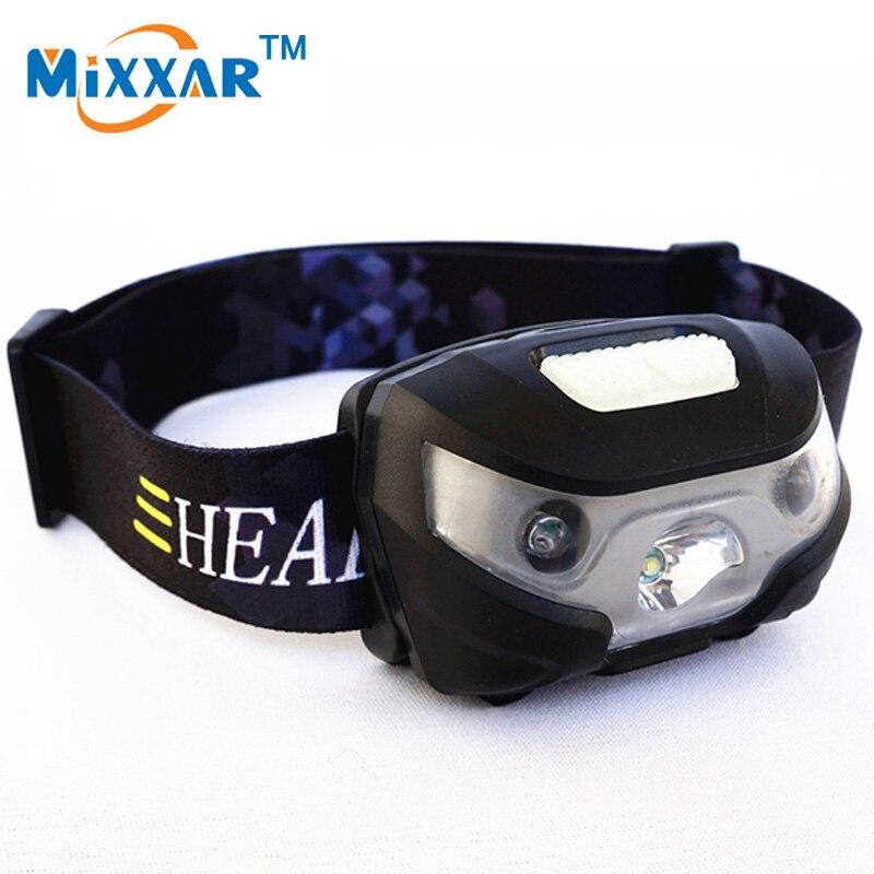 RUZK5 Mini Rechargeable LED Headlamp 3000Lm Body Motion Sensor Headlight Camping Flashlight Head Light Torch Lamp With USB