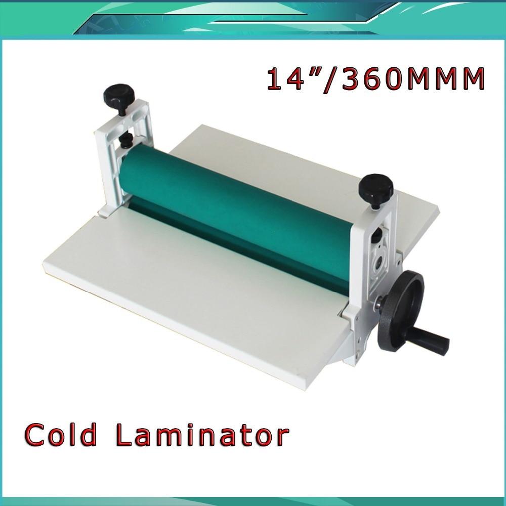 Free Shipping Brand NEW 14 350mm Manual Laminating Machine Photo Vinyl Protect Rubber Cold Laminator power driven cold laminator motor
