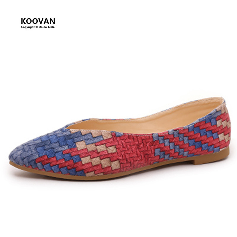 Koovan Women Flats 2017 New Shallow Mouth Pointed Flat Shoes Female Wild Casual Work Peas Women Flats Leather Weave Sexy Ladies female loafers new lace mother flat shoes fashion shallow mouth ladies peas shoes tendon casual women leather shoes plus size
