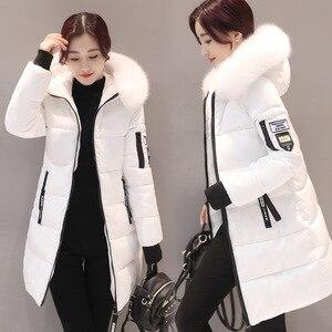 Image 2 - Parka kobiety zimowe płaszcze długa z bawełny swobodne futro z kapturem kurtki damskie grube ciepłe zimowe parki kobiet płaszcz płaszcz 2019 MLD1268