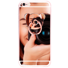 Luxury Soft Mirror With 360 Metal Bear Ring Case Cover For iPhone X 8 Plus 7 Plus 6 6S Plus For iPhone 5 5S SE 4 4s Case Cover