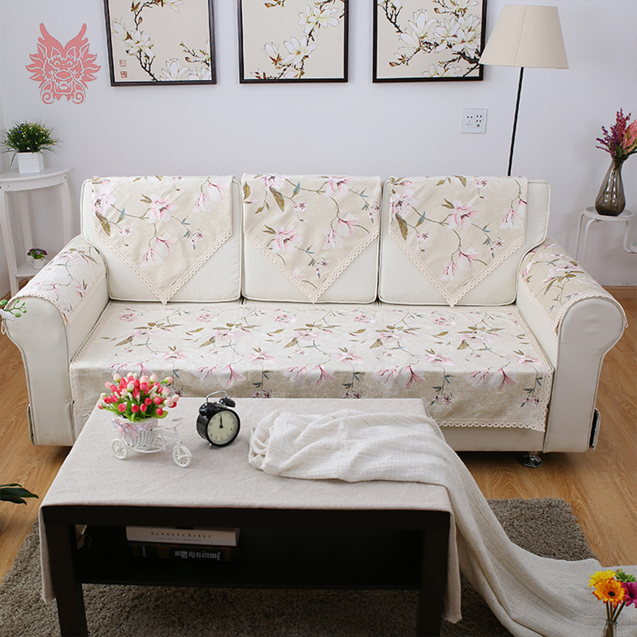 Us 18 26 45 Off Past Style High Grade Beige White Fl Embroidery Chenille Sofa Cover Lace Decor Slipcovers Canape Sp3465 Free Shipping In