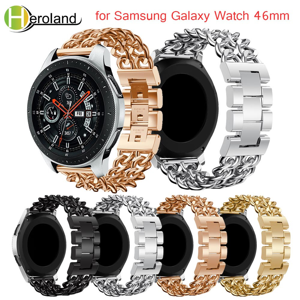 Watchband Luxury Denim chain <font><b>strap</b></font> Stainless Steel Watch Band Replacement <font><b>Strap</b></font> For <font><b>Samsung</b></font> Galaxy Watch <font><b>46mm</b></font> band <font><b>strap</b></font> black image