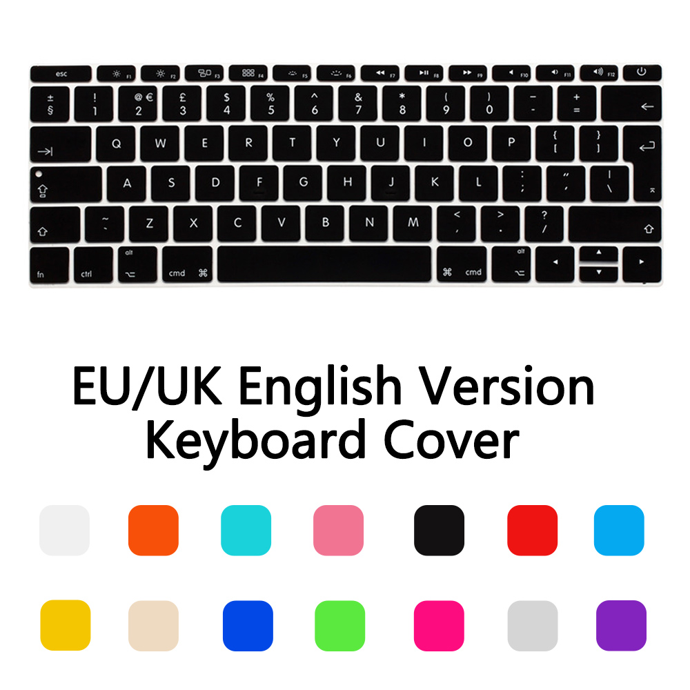 Silicone EU/UK layout Waterproof Keyboard Stickers Cover For New Macbook 12 /2016 2017 2019 Pro 13 Retina A1708 keyboard Film image