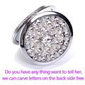 Engrav letters free,rhinestone pearl crystal,wedding party gift,Mini Beauty pocket mirror,stainless steel,makeup compact mirror