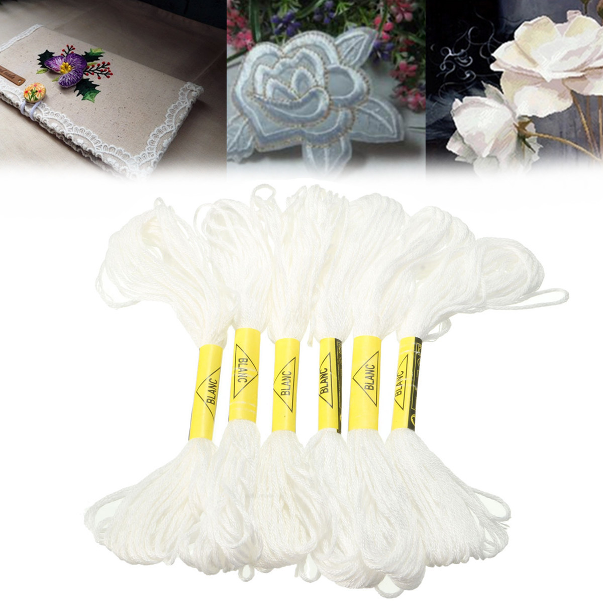 6Pcs 8Meters Cross Stitch Cotton Sewing Skeins Craft Embroidery Similar DMC Threads Floss Kit DIY Sewing Tools Accessories