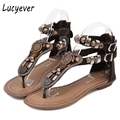Lucyever 2017 Summer Women Gladiator Sandals Fashion Rivets Punk Flip Flops Bohemia Comfort Low Heels Casual Shoes Woman