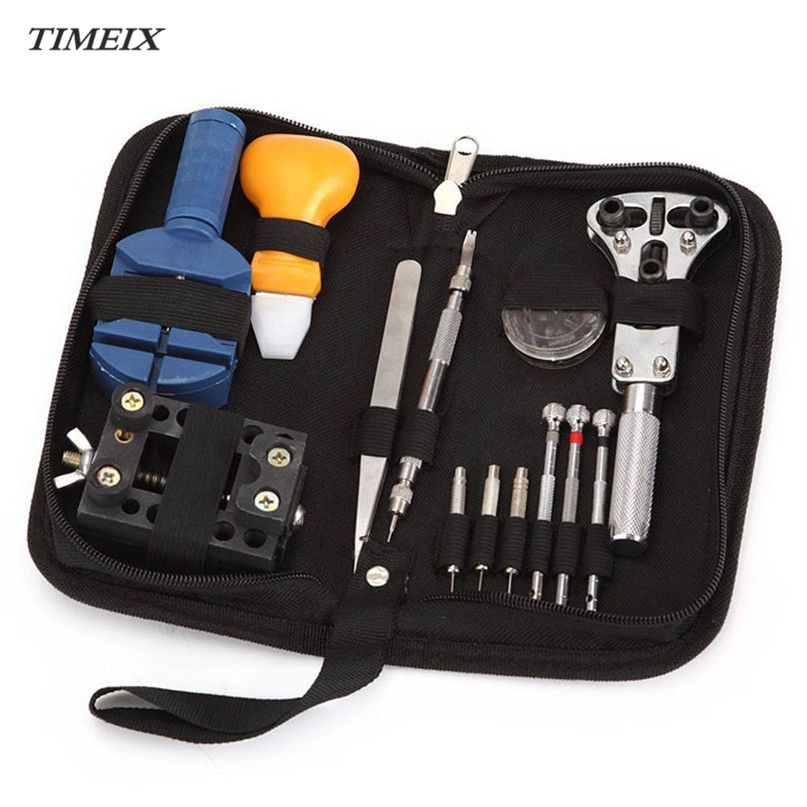 13 Pcs/Set Watch Repair Tool Kits Set Zip Case Holder Opener